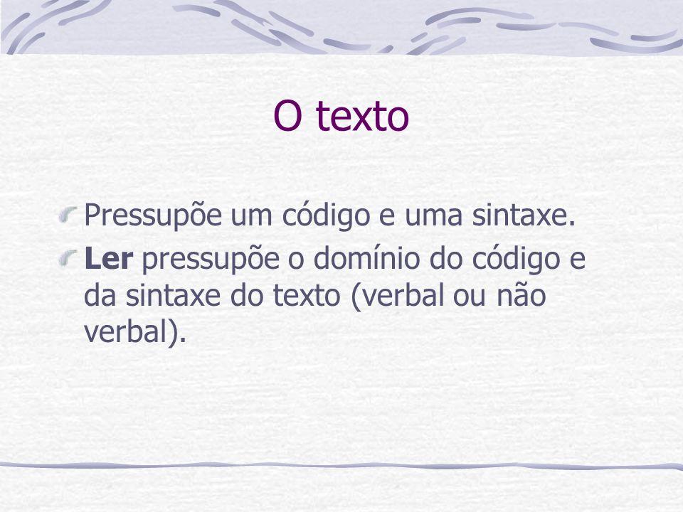 O texto Pressupõe um código e uma sintaxe.