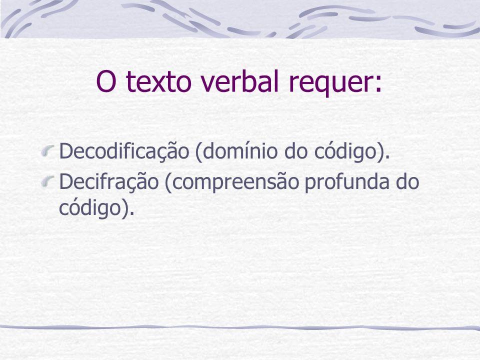 O texto verbal requer: Decodificação (domínio do código).