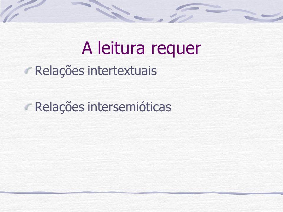 A leitura requer Relações intertextuais Relações intersemióticas