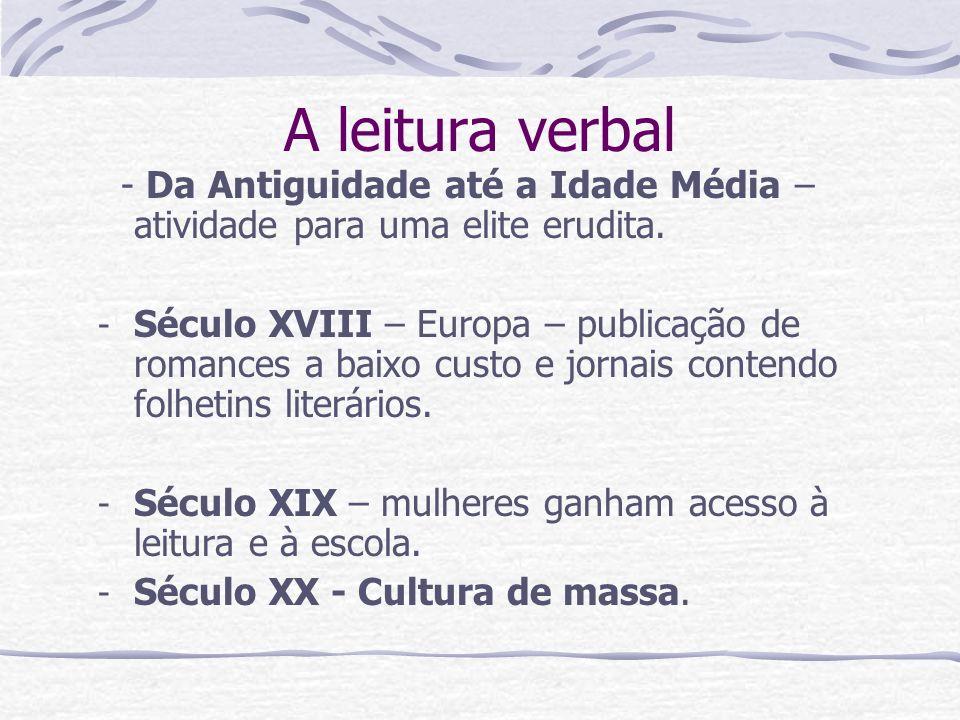 A leitura verbal - Da Antiguidade até a Idade Média – atividade para uma elite erudita.