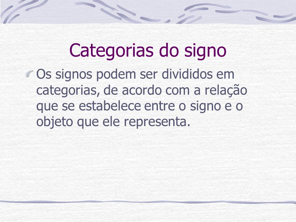 Categorias do signo
