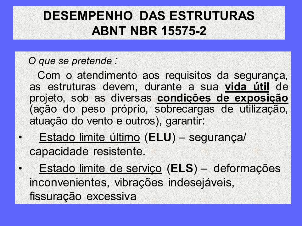 DESEMPENHO DAS ESTRUTURAS ABNT NBR 15575-2