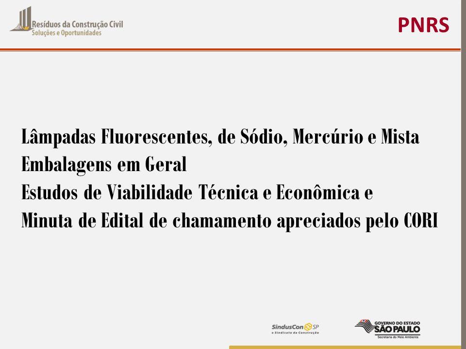 PNRS Lâmpadas Fluorescentes, de Sódio, Mercúrio e Mista. Embalagens em Geral. Estudos de Viabilidade Técnica e Econômica e.