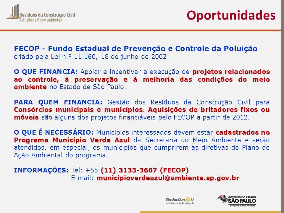 Oportunidades FECOP - Fundo Estadual de Prevenção e Controle da Poluição. criado pela Lei n.º 11.160, 18 de junho de 2002.