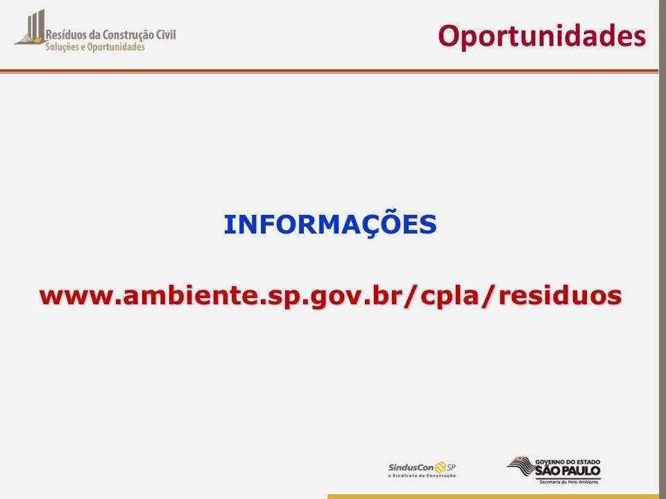 Oportunidades INFORMAÇÕES www.ambiente.sp.gov.br/cpla/residuos