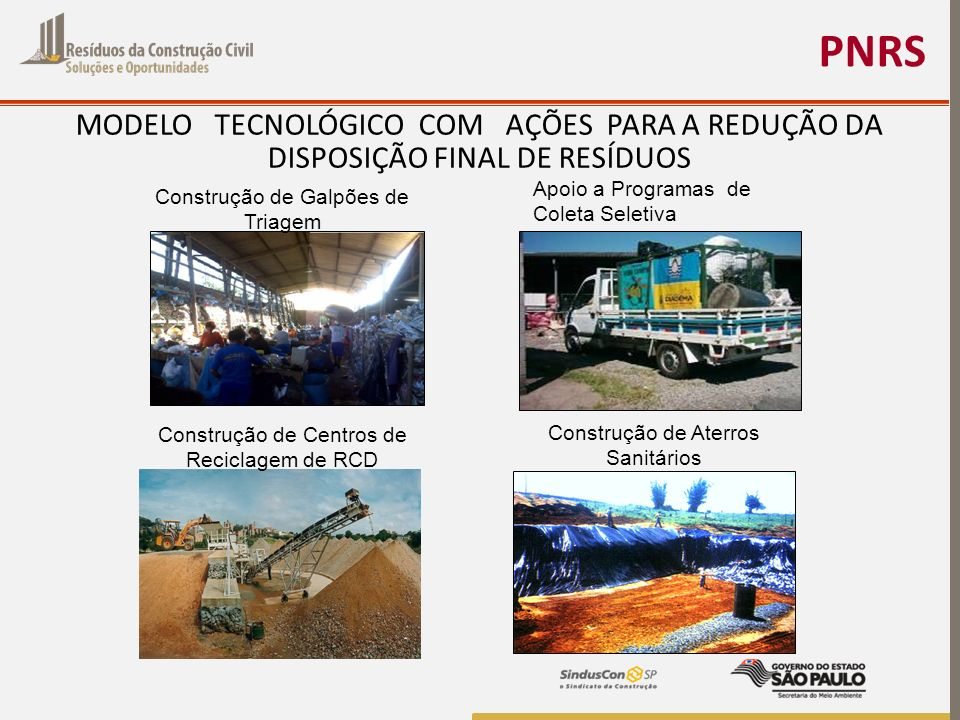 PNRS MODELO TECNOLÓGICO COM AÇÕES PARA A REDUÇÃO DA DISPOSIÇÃO FINAL DE RESÍDUOS. Construção de Galpões de Triagem.