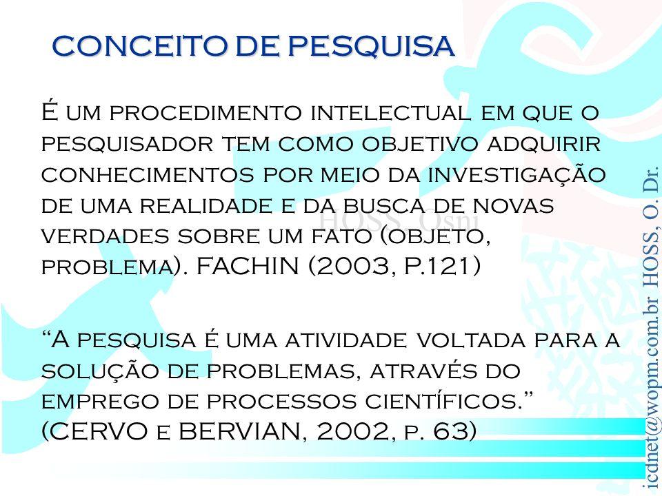 CONCEITO DE PESQUISA