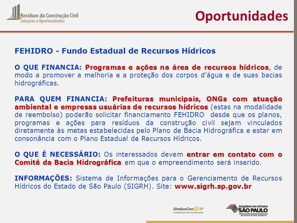 Oportunidades FEHIDRO - Fundo Estadual de Recursos Hídricos