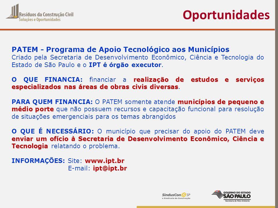 Oportunidades PATEM - Programa de Apoio Tecnológico aos Municípios