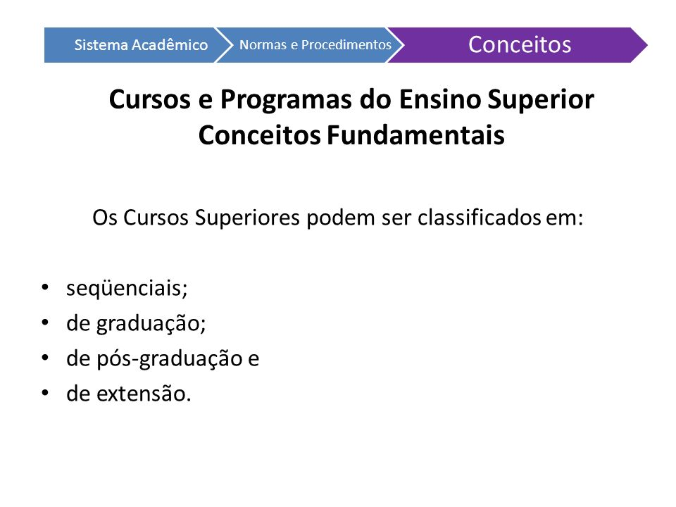 Cursos e Programas do Ensino Superior Conceitos Fundamentais