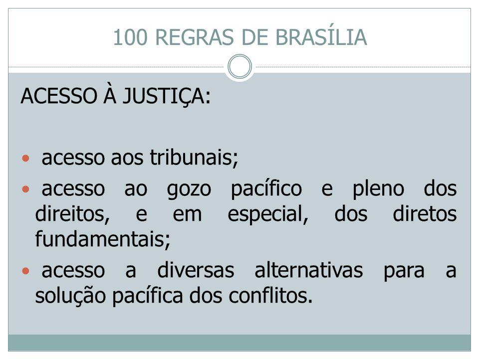 100 REGRAS DE BRASÍLIA ACESSO À JUSTIÇA: acesso aos tribunais;