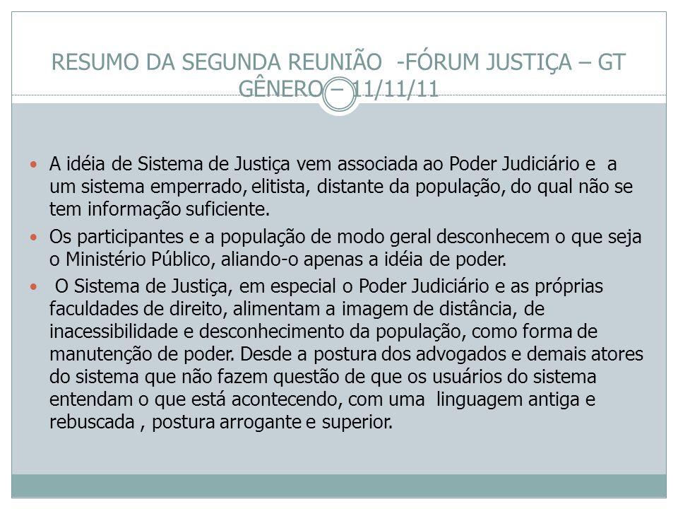 RESUMO DA SEGUNDA REUNIÃO -FÓRUM JUSTIÇA – GT GÊNERO – 11/11/11