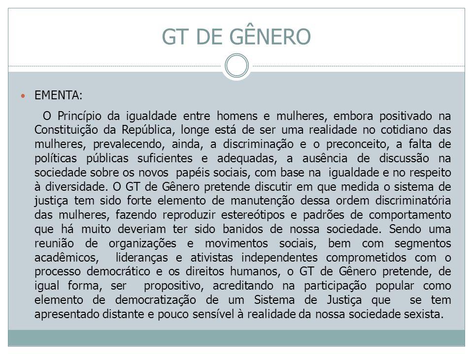 GT DE GÊNERO EMENTA: