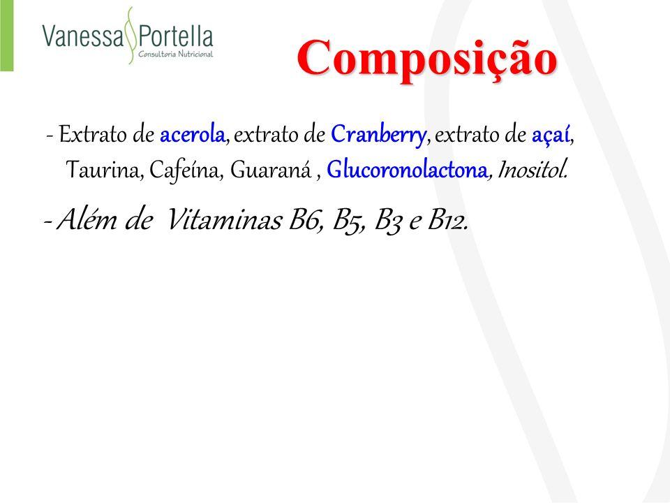 Composição - Além de Vitaminas B6, B5, B3 e B12.