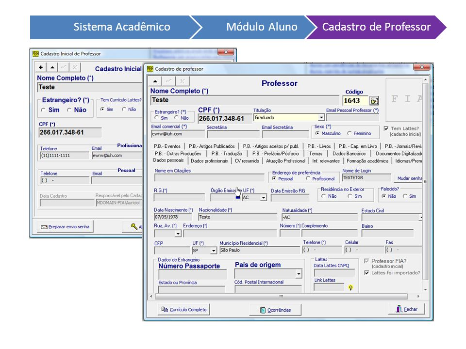 Sistema Acadêmico Módulo Aluno Cadastro de Professor