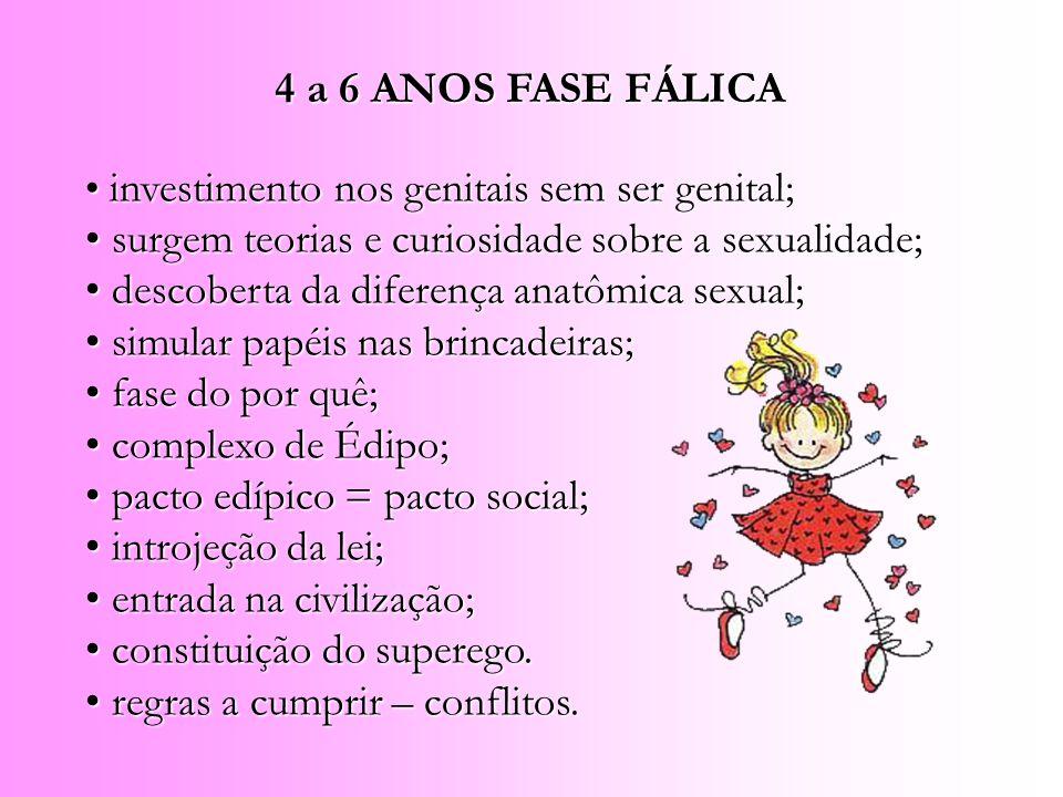 4 a 6 ANOS FASE FÁLICA investimento nos genitais sem ser genital; surgem teorias e curiosidade sobre a sexualidade;