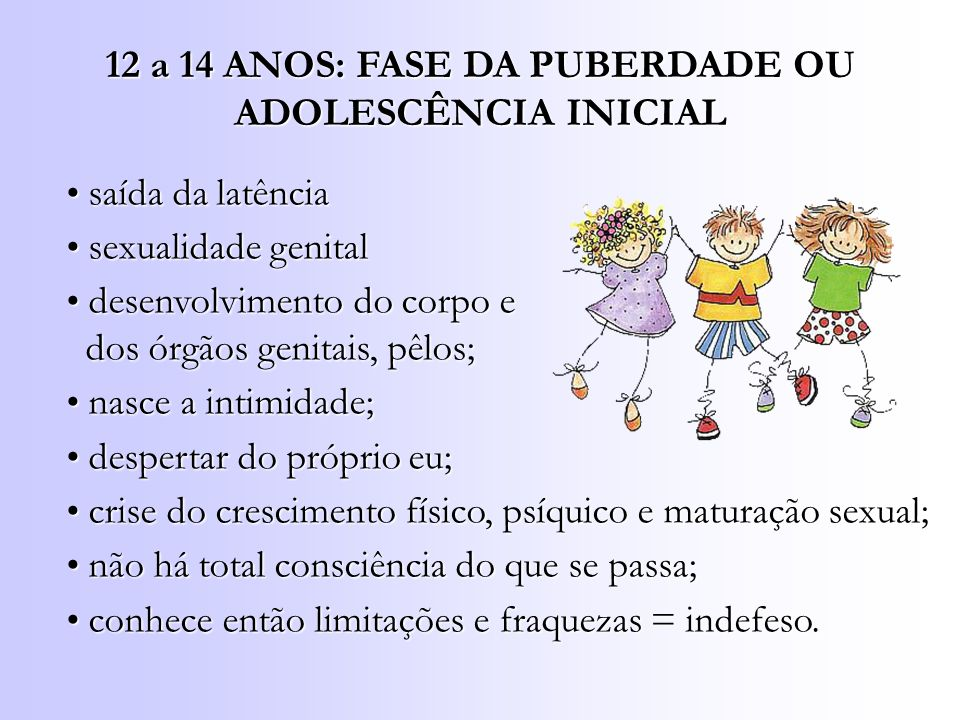 12 a 14 ANOS: FASE DA PUBERDADE OU ADOLESCÊNCIA INICIAL