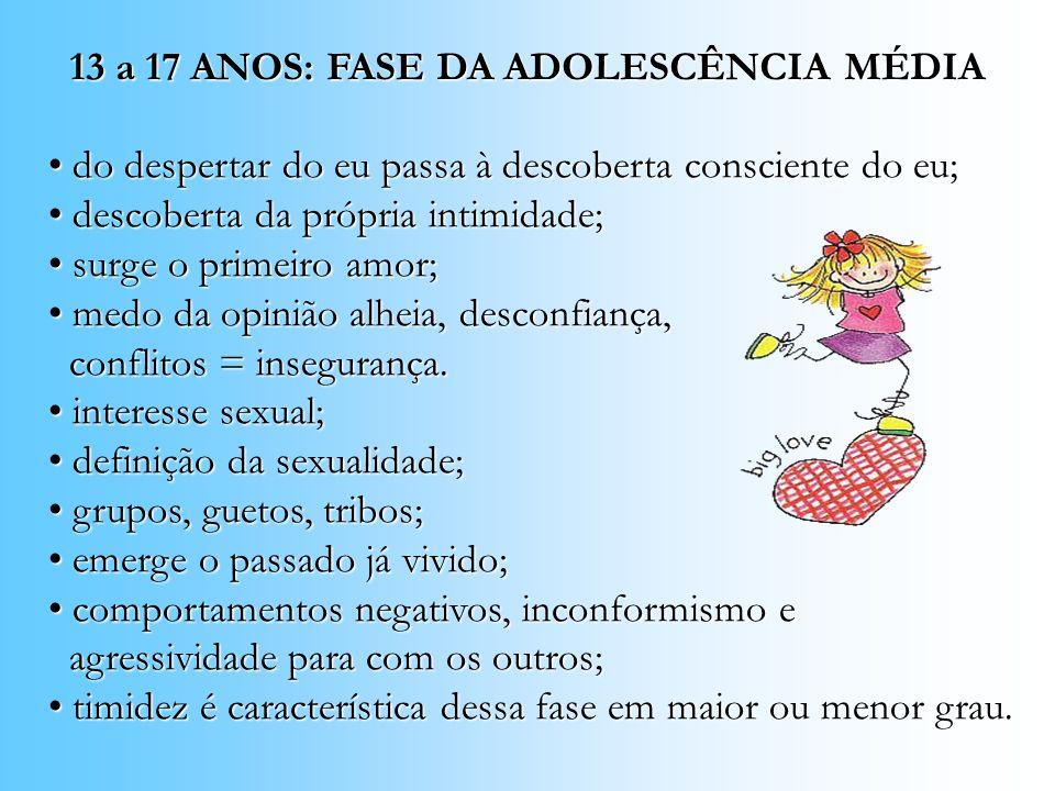 13 a 17 ANOS: FASE DA ADOLESCÊNCIA MÉDIA