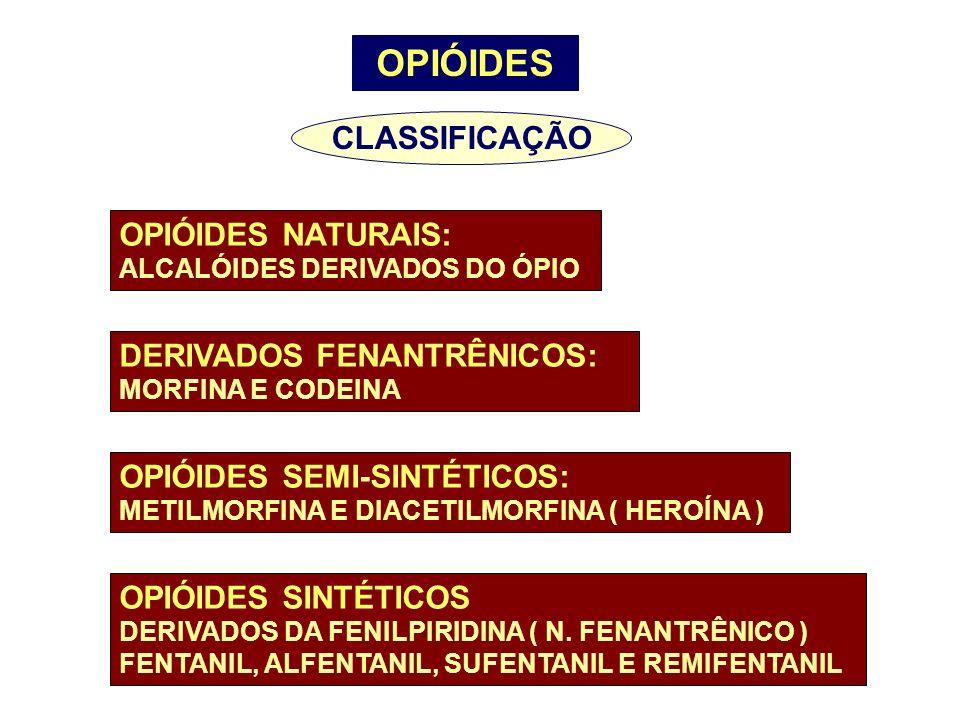 OPIÓIDES CLASSIFICAÇÃO OPIÓIDES NATURAIS: ALCALÓIDES DERIVADOS DO ÓPIO