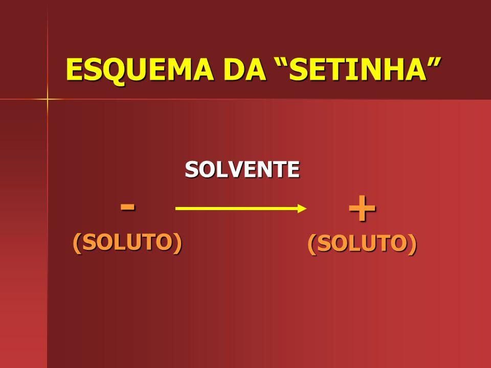 ESQUEMA DA SETINHA SOLVENTE - (SOLUTO) + (SOLUTO)