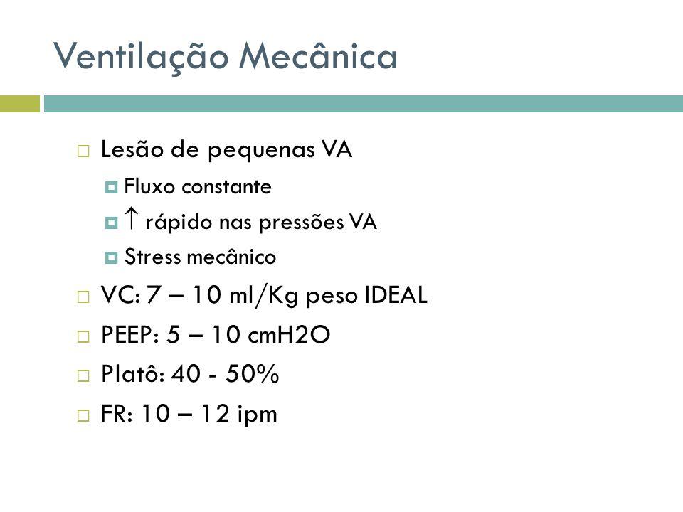Ventilação Mecânica Lesão de pequenas VA VC: 7 – 10 ml/Kg peso IDEAL