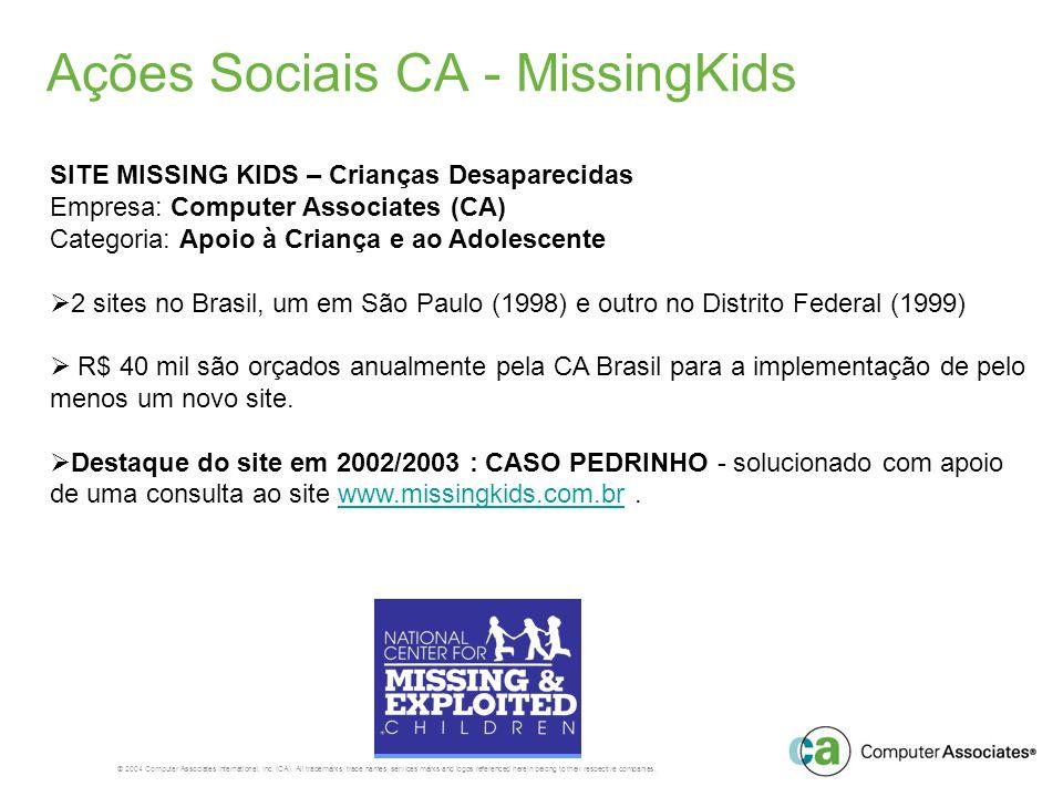 Ações Sociais CA - MissingKids