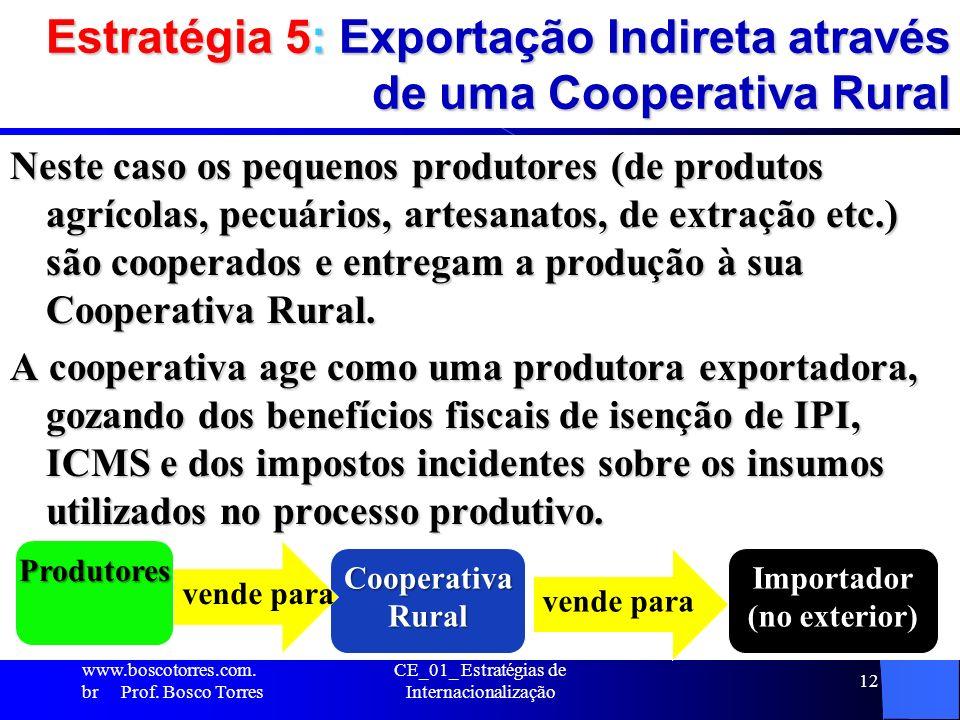 Estratégia 5: Exportação Indireta através de uma Cooperativa Rural