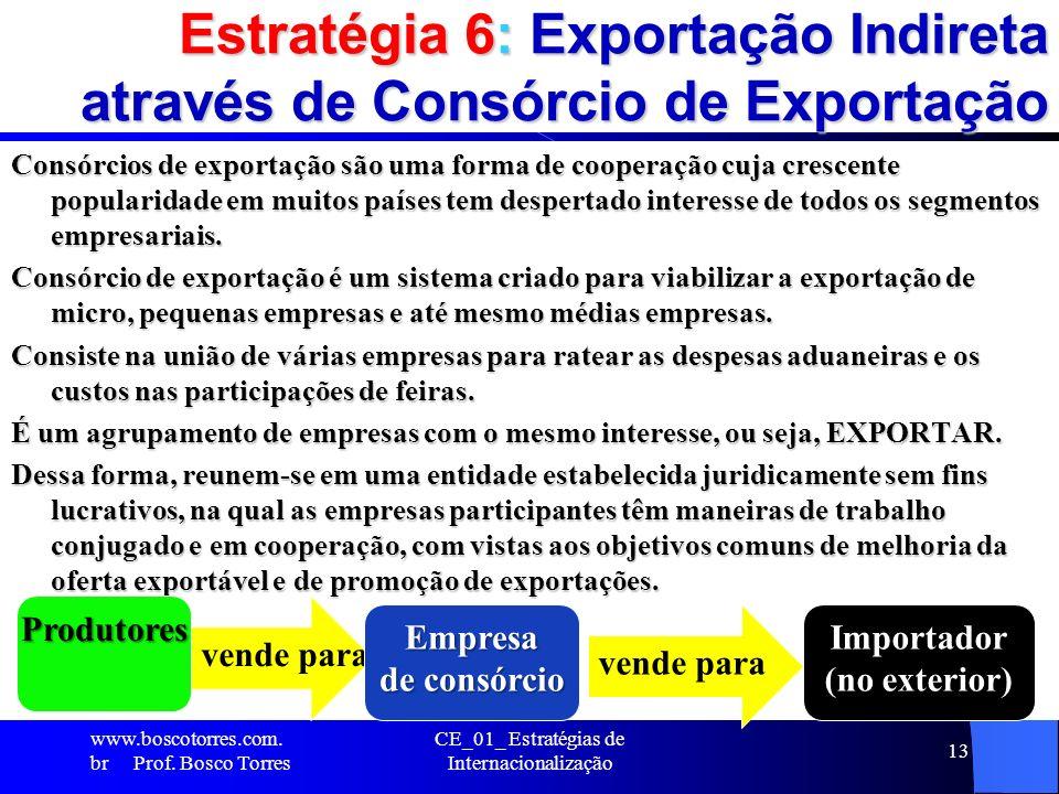 Estratégia 6: Exportação Indireta através de Consórcio de Exportação