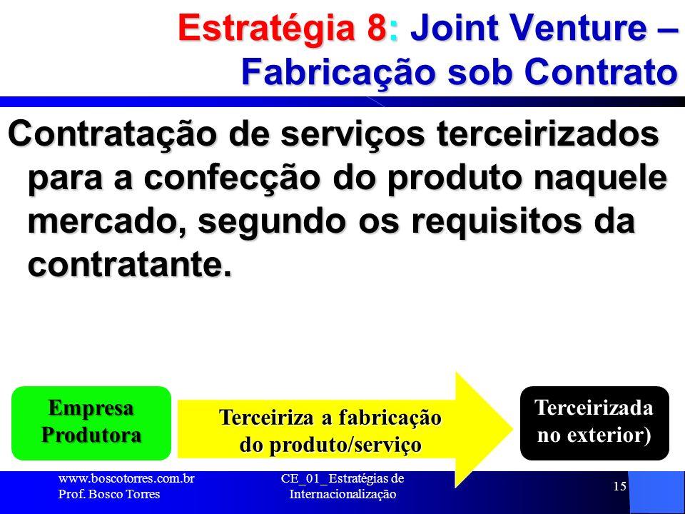 Estratégia 8: Joint Venture – Fabricação sob Contrato