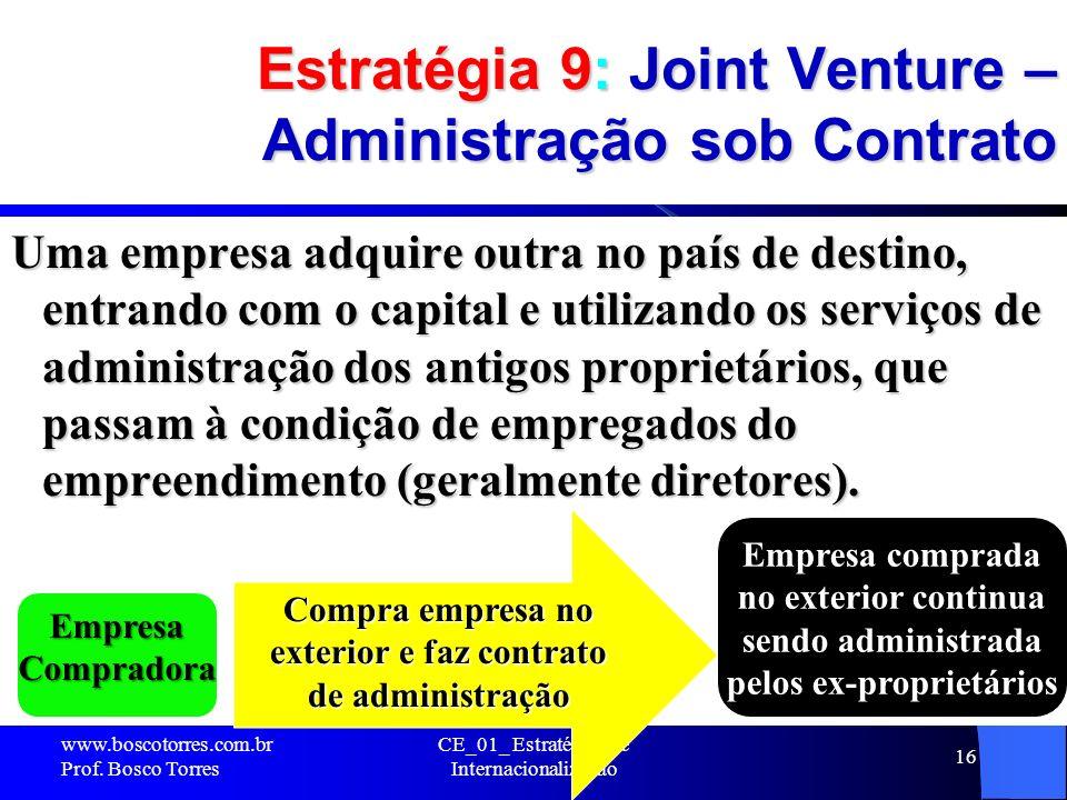 Estratégia 9: Joint Venture – Administração sob Contrato