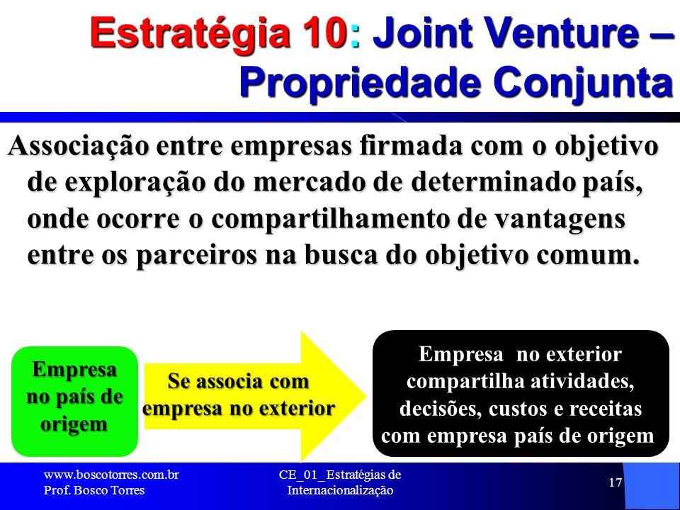 Estratégia 10: Joint Venture – Propriedade Conjunta