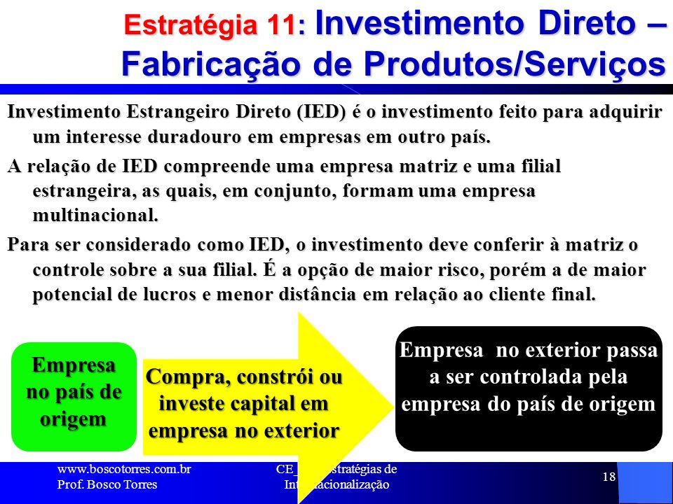 Estratégia 11: Investimento Direto – Fabricação de Produtos/Serviços
