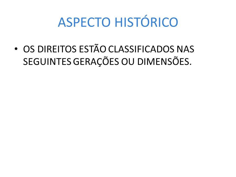 ASPECTO HISTÓRICO OS DIREITOS ESTÃO CLASSIFICADOS NAS SEGUINTES GERAÇÕES OU DIMENSÕES.