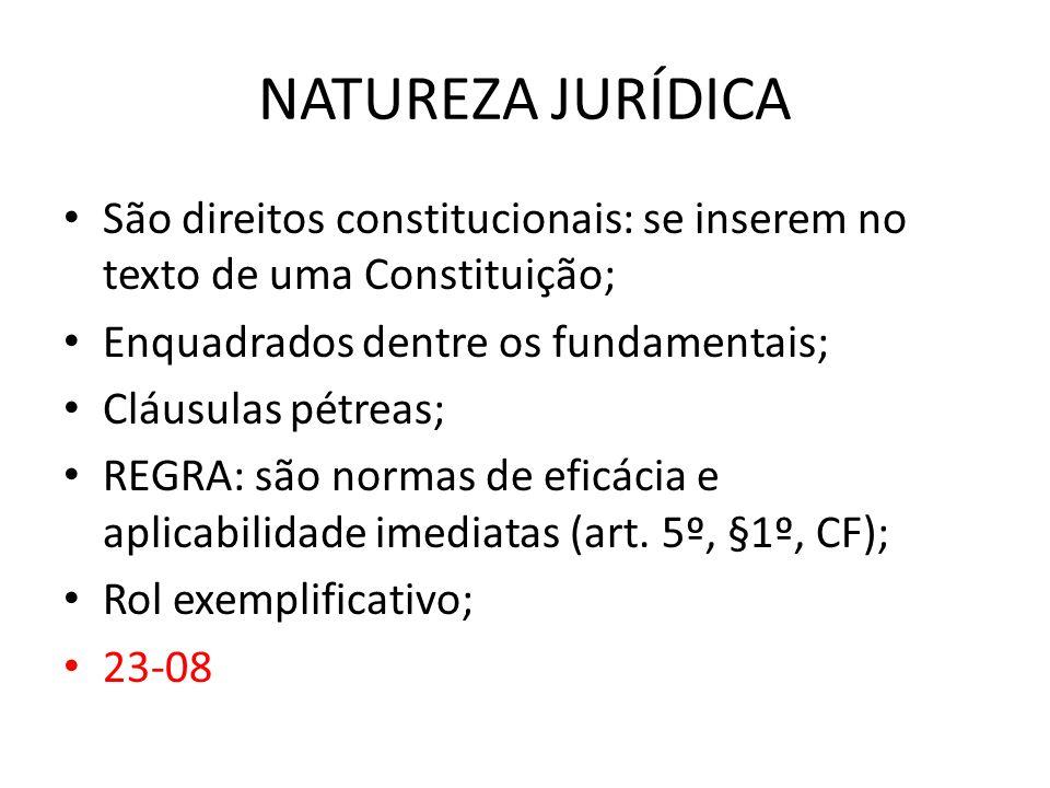 NATUREZA JURÍDICASão direitos constitucionais: se inserem no texto de uma Constituição; Enquadrados dentre os fundamentais;
