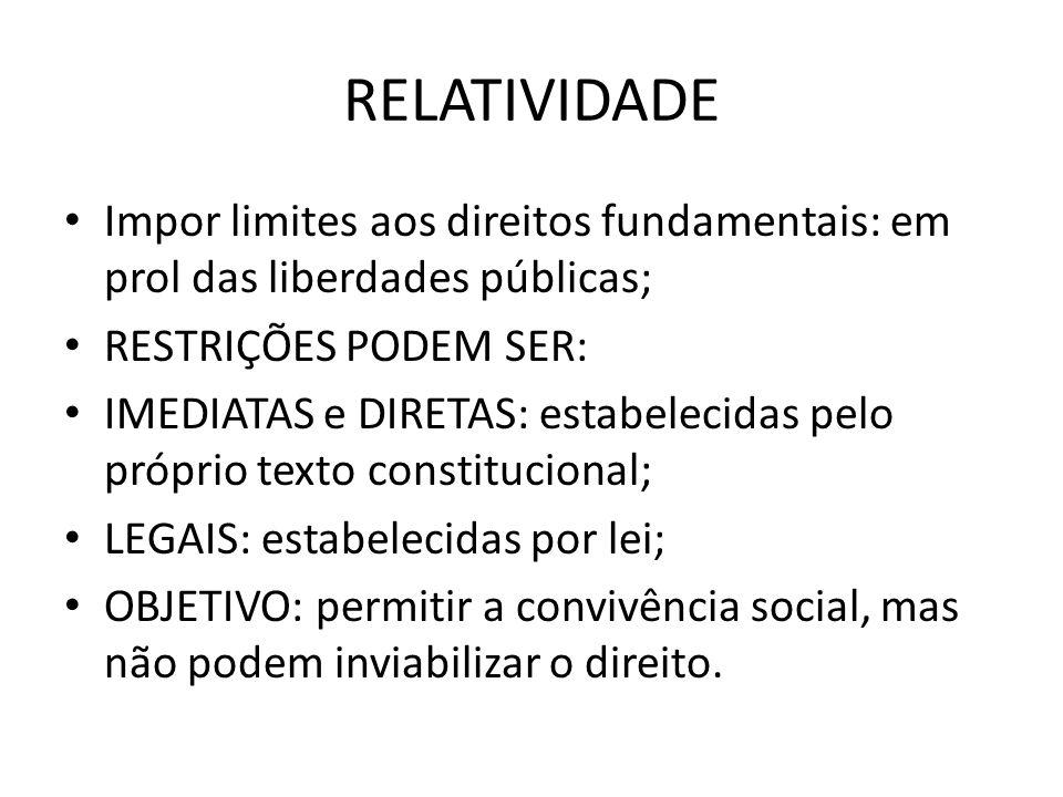 RELATIVIDADE Impor limites aos direitos fundamentais: em prol das liberdades públicas; RESTRIÇÕES PODEM SER: