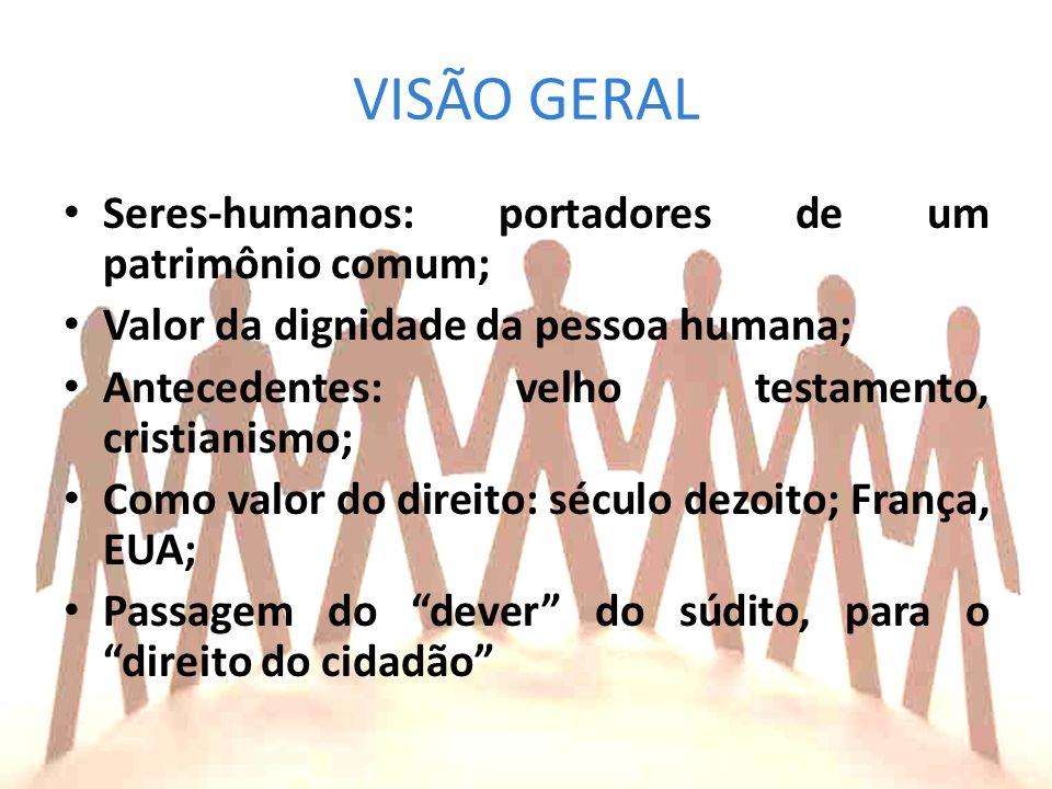 VISÃO GERAL Seres-humanos: portadores de um patrimônio comum;