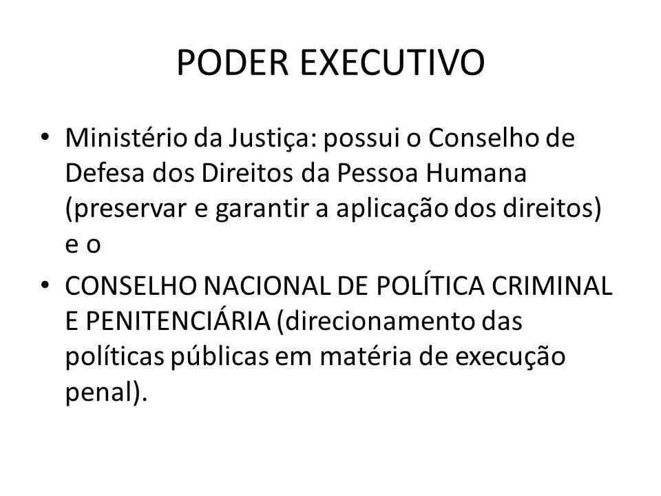 PODER EXECUTIVOMinistério da Justiça: possui o Conselho de Defesa dos Direitos da Pessoa Humana (preservar e garantir a aplicação dos direitos) e o.