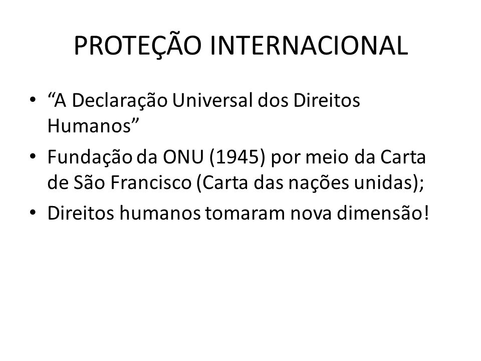 PROTEÇÃO INTERNACIONAL