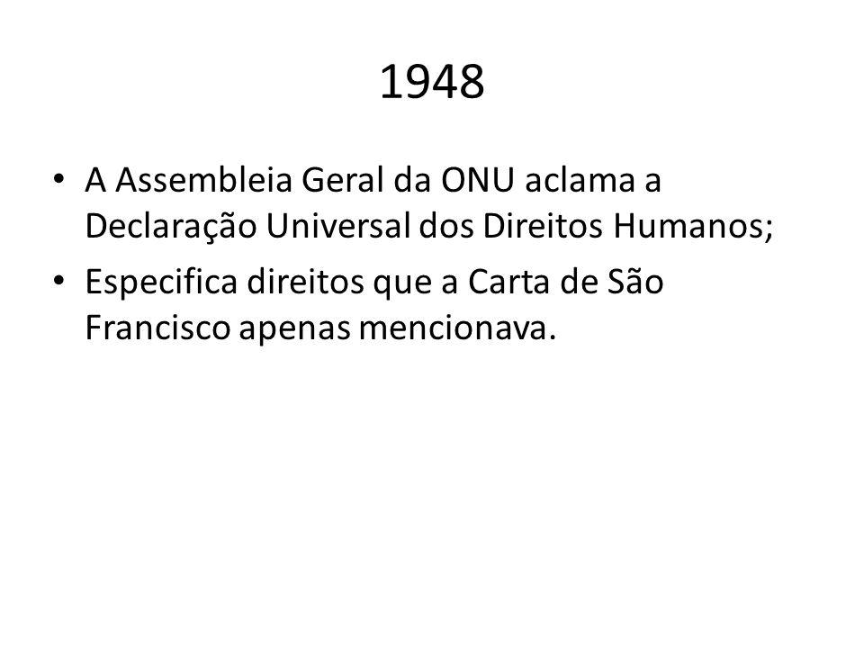 1948 A Assembleia Geral da ONU aclama a Declaração Universal dos Direitos Humanos;