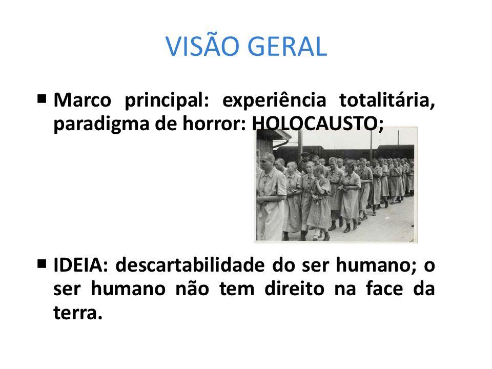 VISÃO GERAL Marco principal: experiência totalitária, paradigma de horror: HOLOCAUSTO;