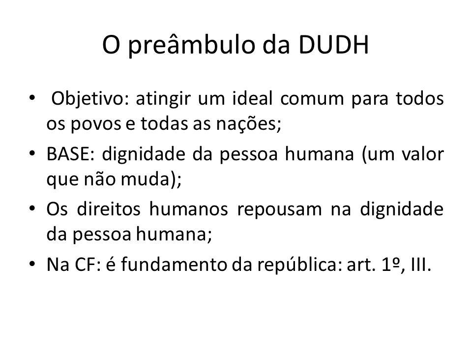 O preâmbulo da DUDHObjetivo: atingir um ideal comum para todos os povos e todas as nações; BASE: dignidade da pessoa humana (um valor que não muda);