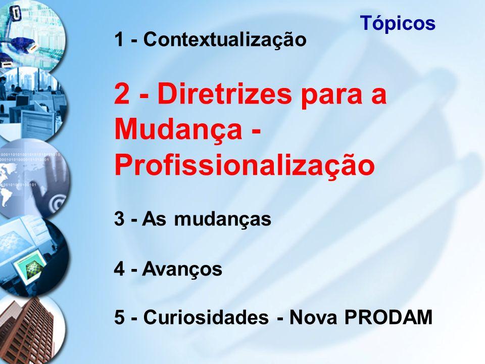 Tópicos1 - Contextualização 2 - Diretrizes para a Mudança - Profissionalização 3 - As mudanças 4 - Avanços 5 - Curiosidades - Nova PRODAM.
