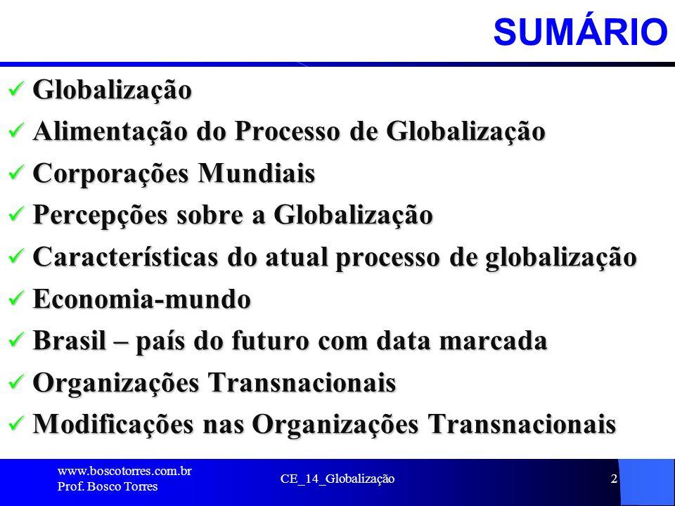 SUMÁRIO Globalização Alimentação do Processo de Globalização
