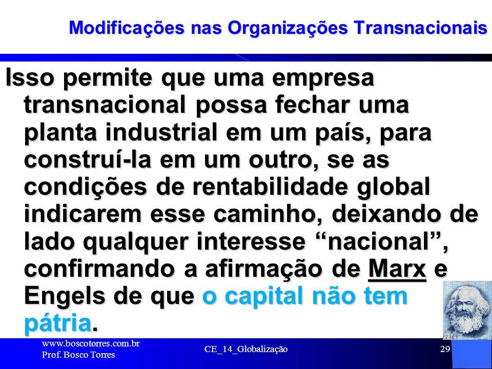 Modificações nas Organizações Transnacionais