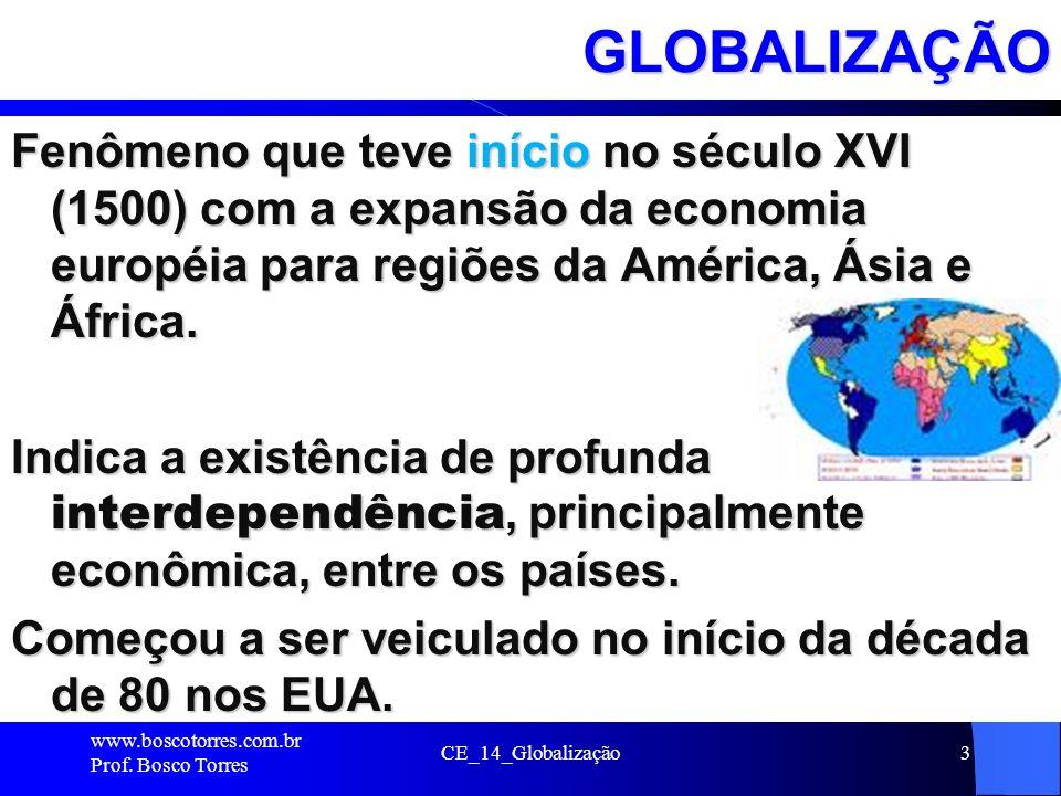 GLOBALIZAÇÃO Fenômeno que teve início no século XVI (1500) com a expansão da economia européia para regiões da América, Ásia e África.