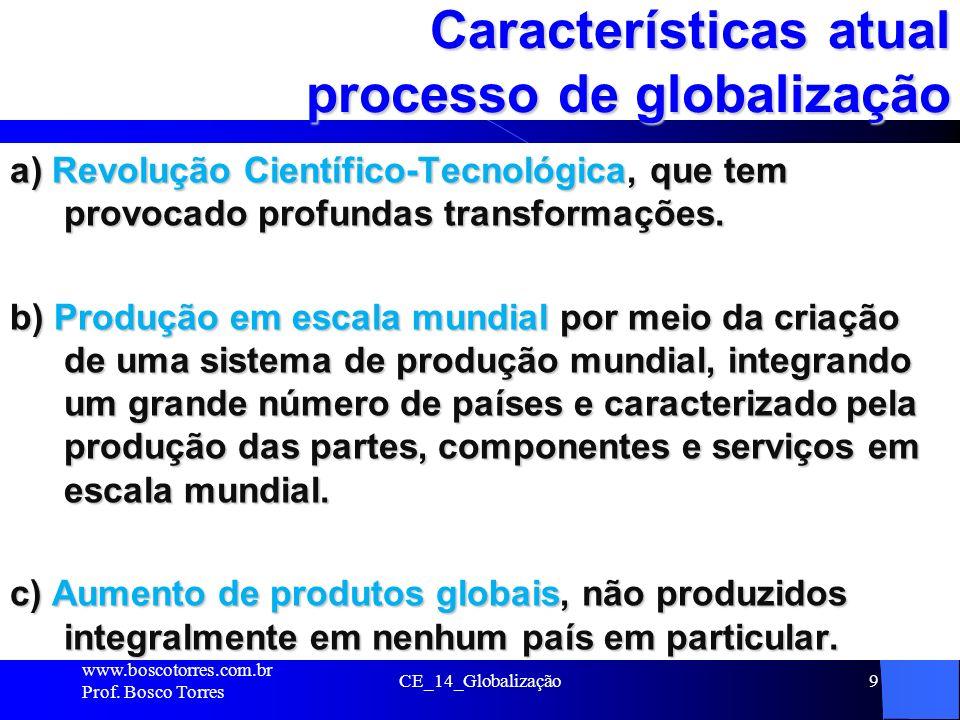 Características atual processo de globalização