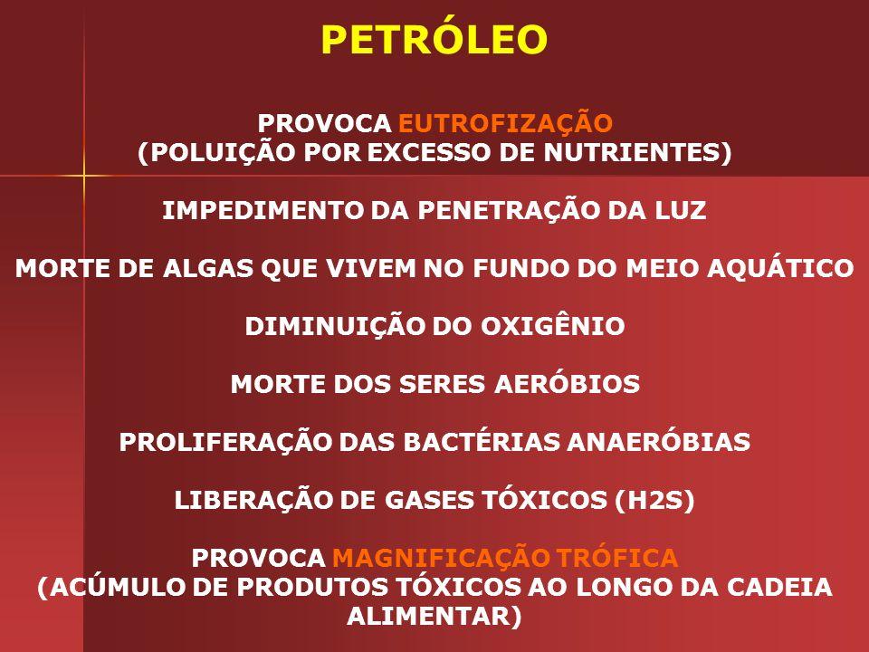 PETRÓLEO PROVOCA EUTROFIZAÇÃO (POLUIÇÃO POR EXCESSO DE NUTRIENTES)