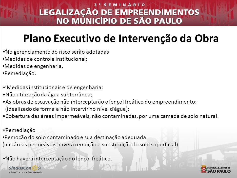 Plano Executivo de Intervenção da Obra