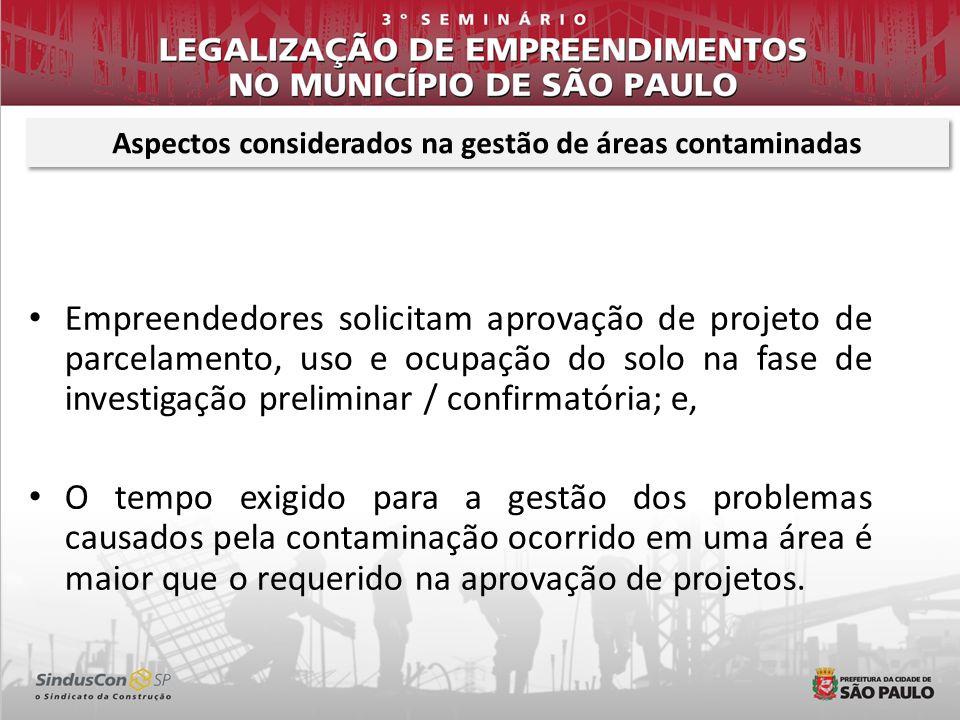 Aspectos considerados na gestão de áreas contaminadas