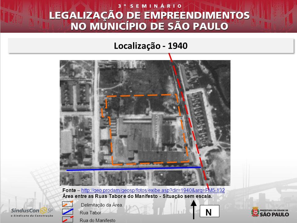 Localização - 1940 Fonte – http://geo.prodam/geosp/fotos/exibe.asp dir=1940&arq=FM5-132.